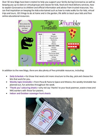 York Mumbler Topic Timetable